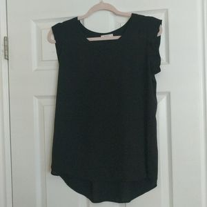 Black Short Sleeve Flowy Blouse